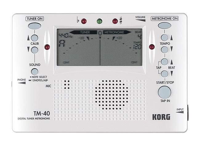 Korg(コルグ) / TM-40 パールホワイト [チューナーメトロノーム]