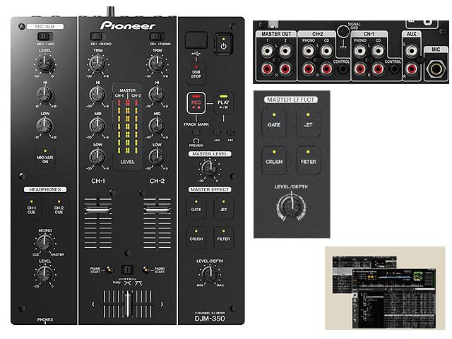 Pioneer(パイオニア) / DJM-350 - 録音機能・エフェクト搭載 - ■限定セット内容■→ 【・ミックスCD作成KIT ・金メッキ高級接続ケーブル 3M 1ペア ・USBメモリ 4GB プレゼント ・1分理解rekordbox DJクイックガイド 】