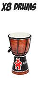 X8 Drums(エックスエイトドラムス) / Hand Painted Mini Djembe (X8 Drums logo)  - ミニ・ジャンべ -